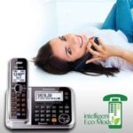 A woman talking with the Best Cordless Phone in relux mode at home