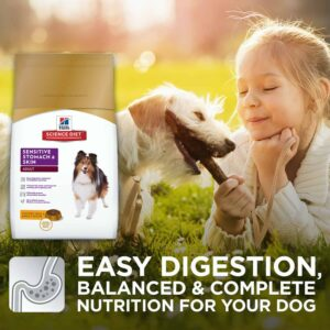 A little girl playing with a dog and has the Best Natural Dog Food