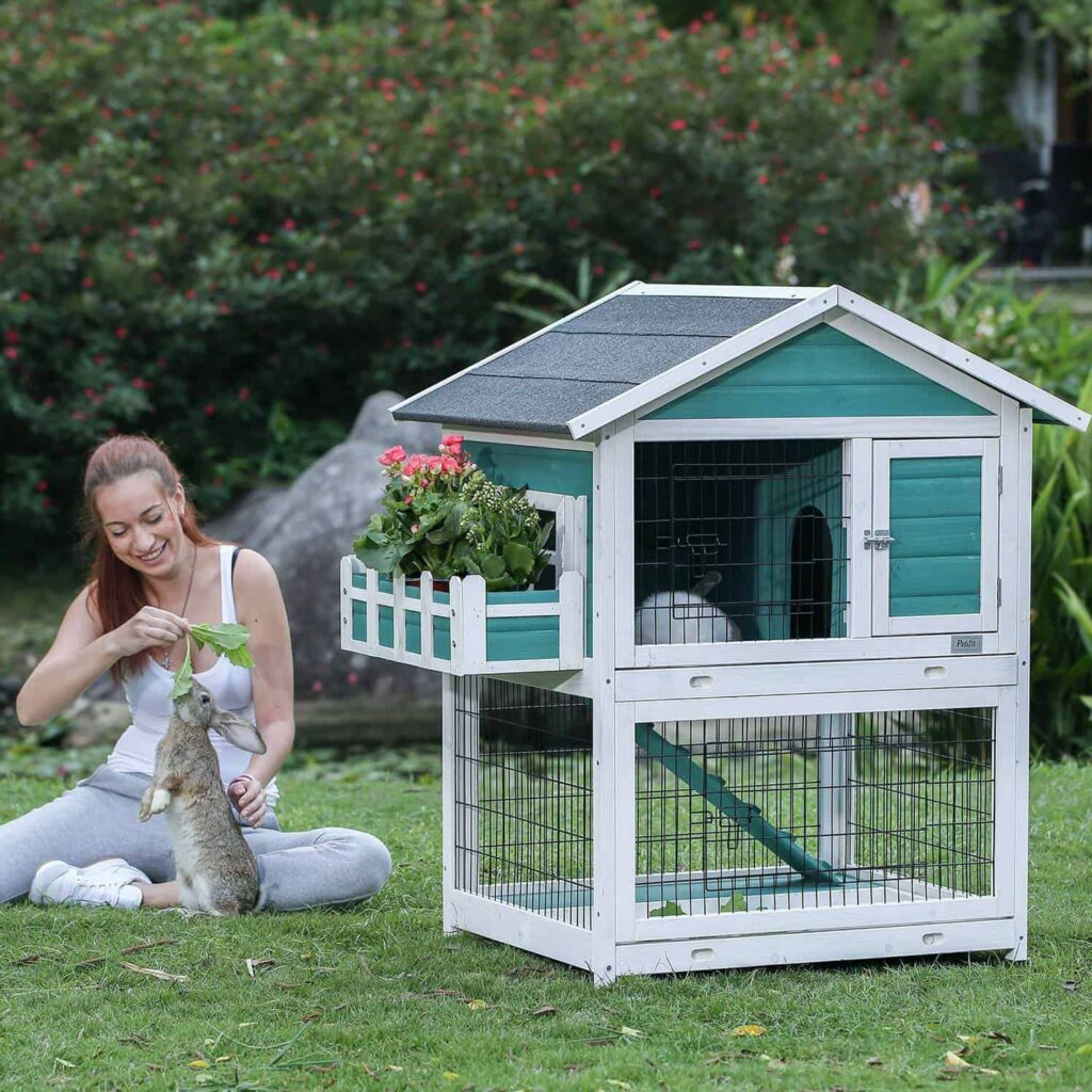 A woman feeding to her rabbit in front of the Best Rabbit Cage at the home outdoor space