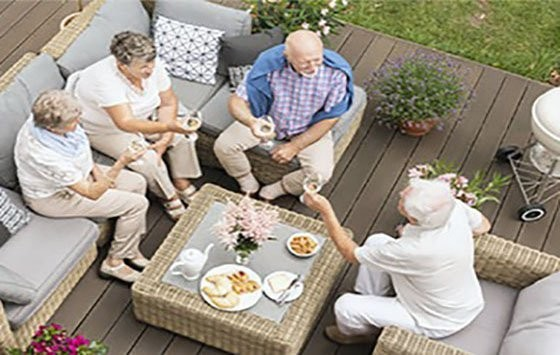 Outdoor area abounds with aesthetics by a tea party of seniors and the main attraction of that is a patio set.