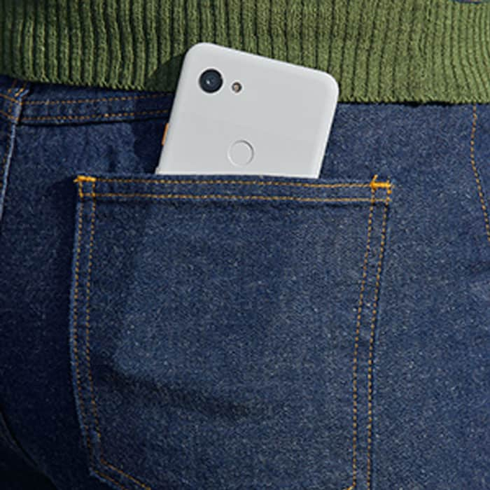 A lightweight and thin smartphone in the back pocket