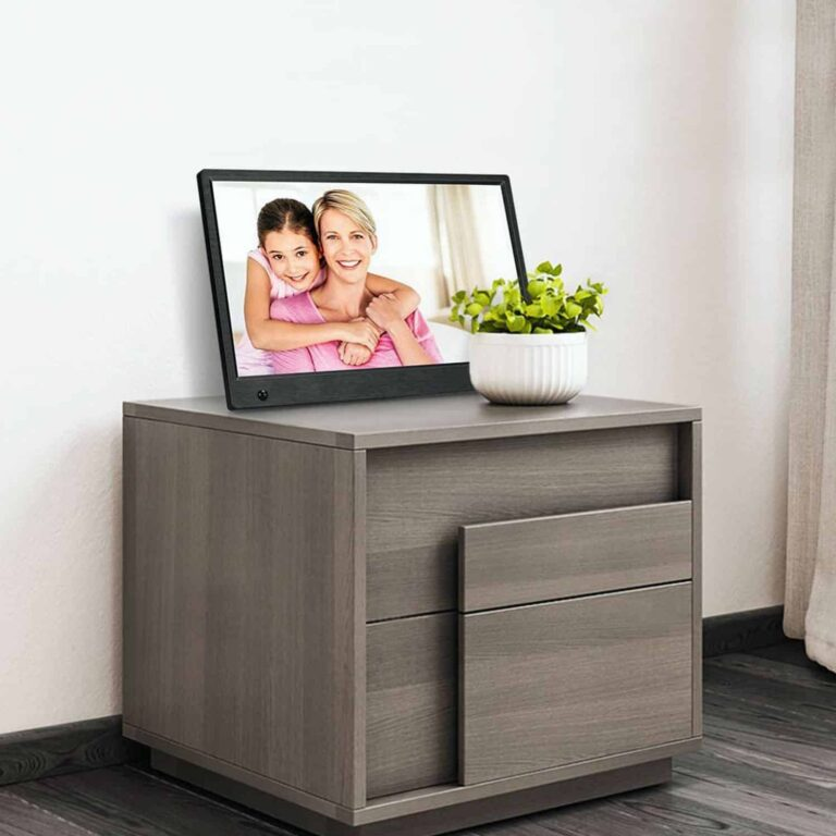 The best digital picture frame on the chest of drawer.
